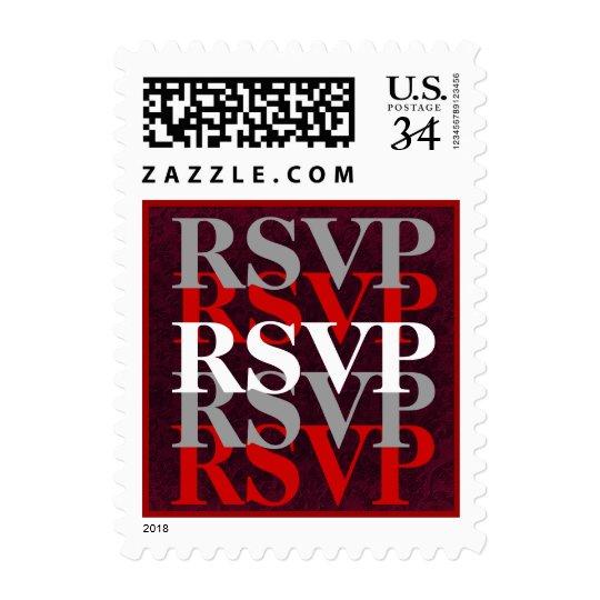 Red Silver White RSVP Modern Wedding W11 Postage