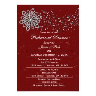 Red Silver Winter Rehearsal Dinner invite