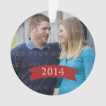Red Simple Banner Holiday Photo Ornament