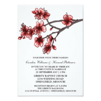 Red Simple Cherry Blossoms Wedding Invite