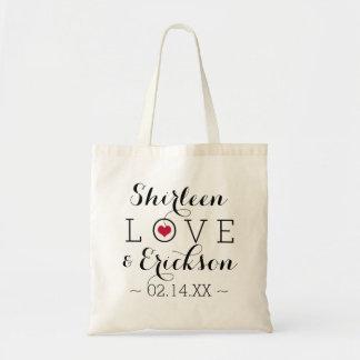 Red Simple Love Wedding Tote Bag