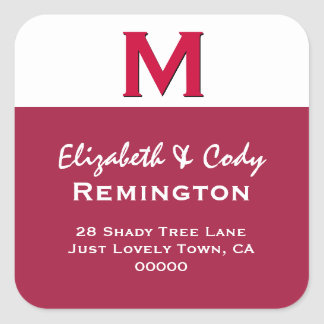 RED Simple  Monogram M  or Any Initial V10 Square Sticker
