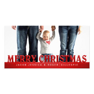 Red Simplicity Merry ChristmaS Family Photo Card