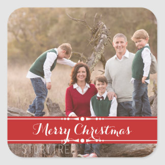 Red Simply Chic Holiday Photo Stickers