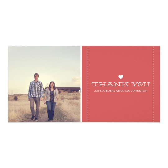 Red Simply Chic Photo Wedding Thank You Cards