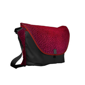Red Simulated Leather Messenger Bag