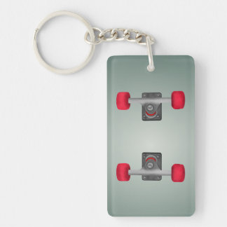 Red Skateboad Wheels Keychain