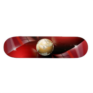 Red skateboard with golden globe