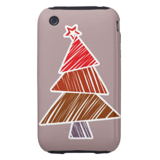 Red Sketchy Christmas Tree 3G/3GS Case-Mate iPhone 3 Tough Covers