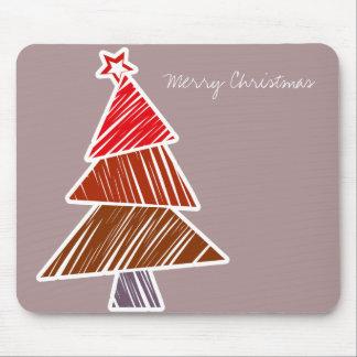 Red Sketchy Christmas Tree Mousepad