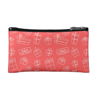 Red Sketchy Gift Pattern Cosmetic Bag