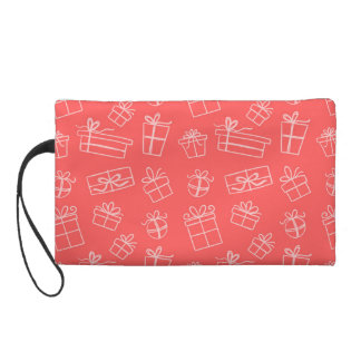 Red Sketchy Gift Pattern Wristlet