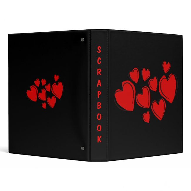 Red Sketchy Hearts Design Black Scrapbook Binder