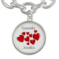 Red Sketchy Hearts Design Charm Bracelet