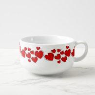Red Sketchy Hearts Design Soup Mug Soup Mug