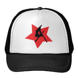 red ski jump icon mesh hat
