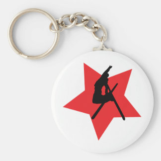 red ski jump icon keychain