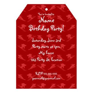 Red ski pattern 5x7 paper invitation card