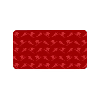 Red ski pattern personalized address labels