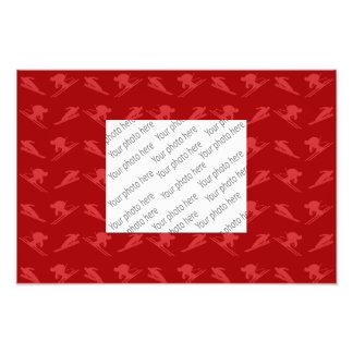 Red ski pattern photo print