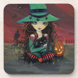 Red Skies of October Halloween Witch Art Coasters
