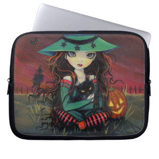 Red Skies of October Halloween Witch Art Computer Sleeve