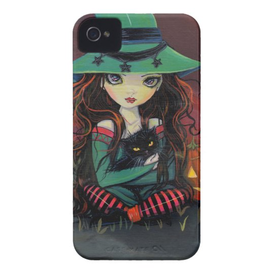 Red Skies of October Halloween Witch Art iPhone 4 Case
