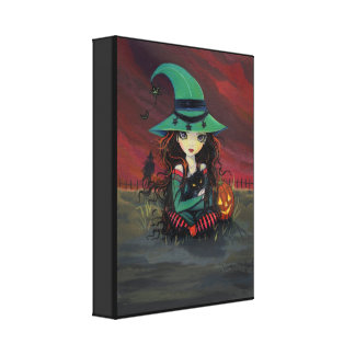 Red Skies of October Halloween Witch Canvas Print