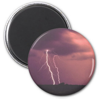 Red Skies with Lightning 2 Inch Round Magnet