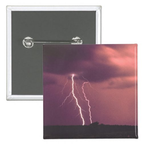 Red Skies with Lightning 2 Inch Square Button