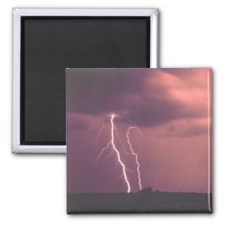 Red Skies with Lightning 2 Inch Square Magnet