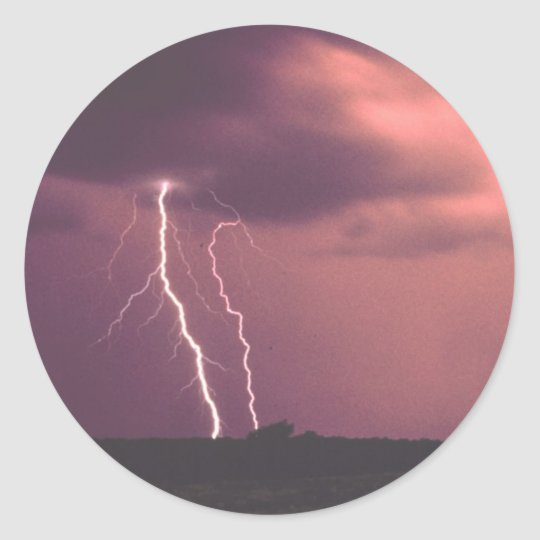 Red Skies with Lightning Classic Round Sticker