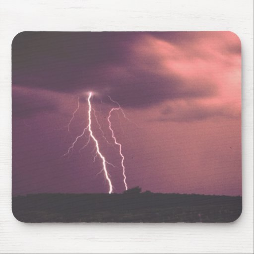 Red Skies with Lightning Mouse Pad