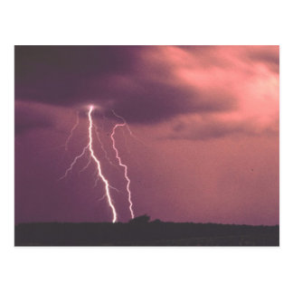Red Skies with Lightning Postcard