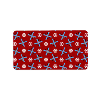 red skis and snowflakes pattern personalized address labels