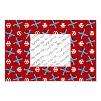 red skis and snowflakes pattern art photo