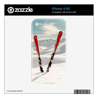 Red Skis Decal For iPhone 4