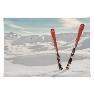 Red Skis Cloth Placemat