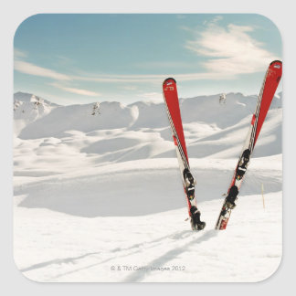 Red Skis Square Stickers