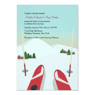 Red Skis Wedding Invitation