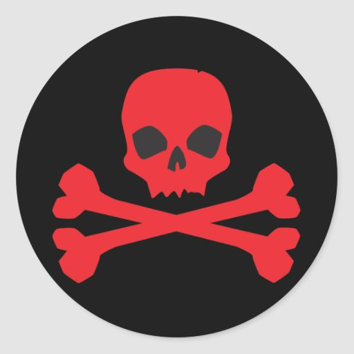 Red Skull and Bones Classic Round Sticker