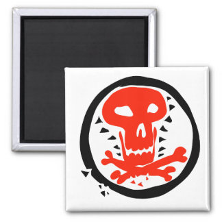red skull and bones graphic illustration magnet