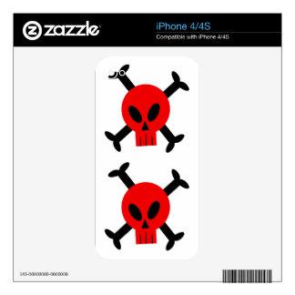 Red Skull And Crossbones Apple iPhone 4 Skin