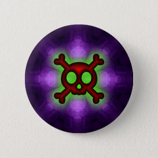 Red Skull and Crossbones Button