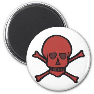 Red Skull And Crossbones Fridge Magnet