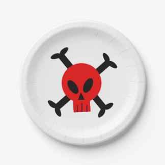 Red Skull And Crossbones Paper Plate
