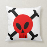 Red Skull And Crossbones Pillows