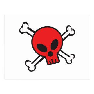 Red Skull and Crossbones Postcard