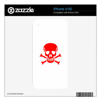 Red Skull And Crossbones Skin For The iPhone 4S