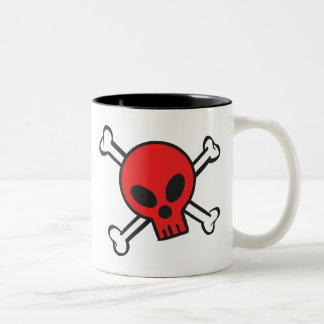 Red Skull and Crossbones Two-Tone Coffee Mug